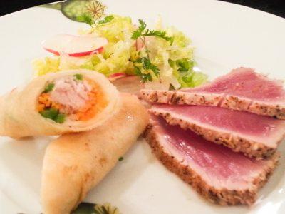 Fennel seared tuna and rare tuna spring roll.