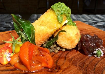 Goats cheese croquettas with onion jam, red peppers and fresh pesto.