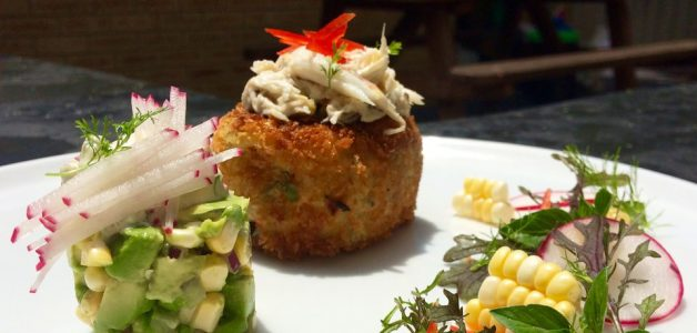 Swan river crab, panko fish cake, radish lime and coriander tartare.