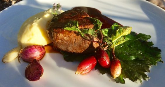 Beef fillet, sage and truffle mash, red wine jus.